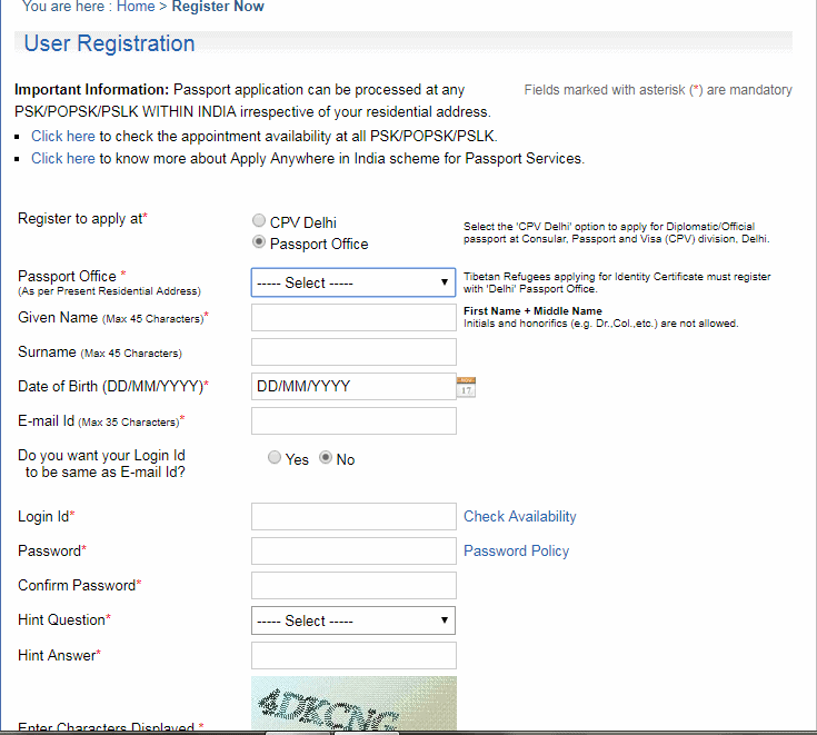 Passport online application -New User Registration