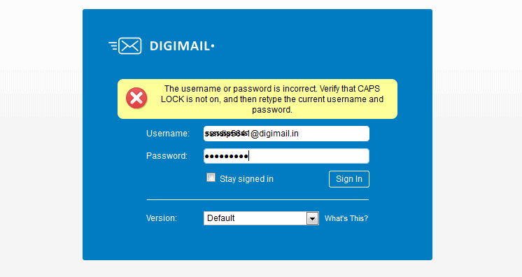 DIGIMAIL Login Problem