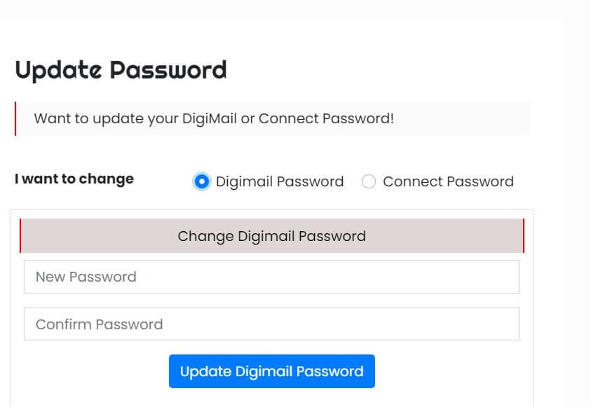 hot to get digimail password