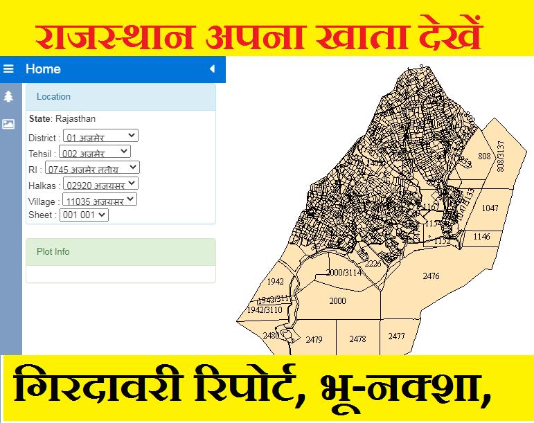 Rajsthan Bhunaksha online - @apnakhata.raj.nic.in Edharti Apna Khata bhoo map girdwari report